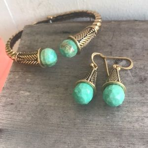 Vtg Barse Thai Turquoise Set Earrings & Cuff